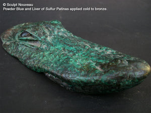 Bronze sculpture of an alligator using Sculpt Nouveau Traditional Liver of Sulfur and Powder Blue Patinas