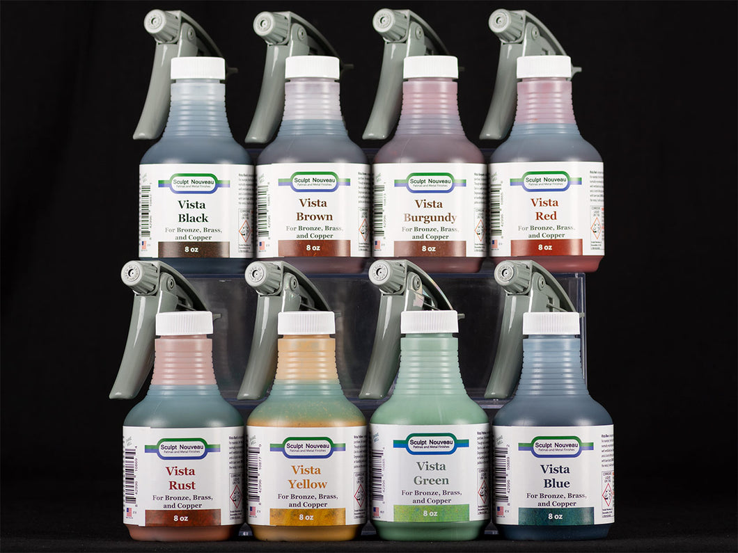 Sculpt Nouveau Black, Brown, Burgundy, Red, Rust, Yellow, Green, and Blue Vista Patinas in 8oz. spray bottles