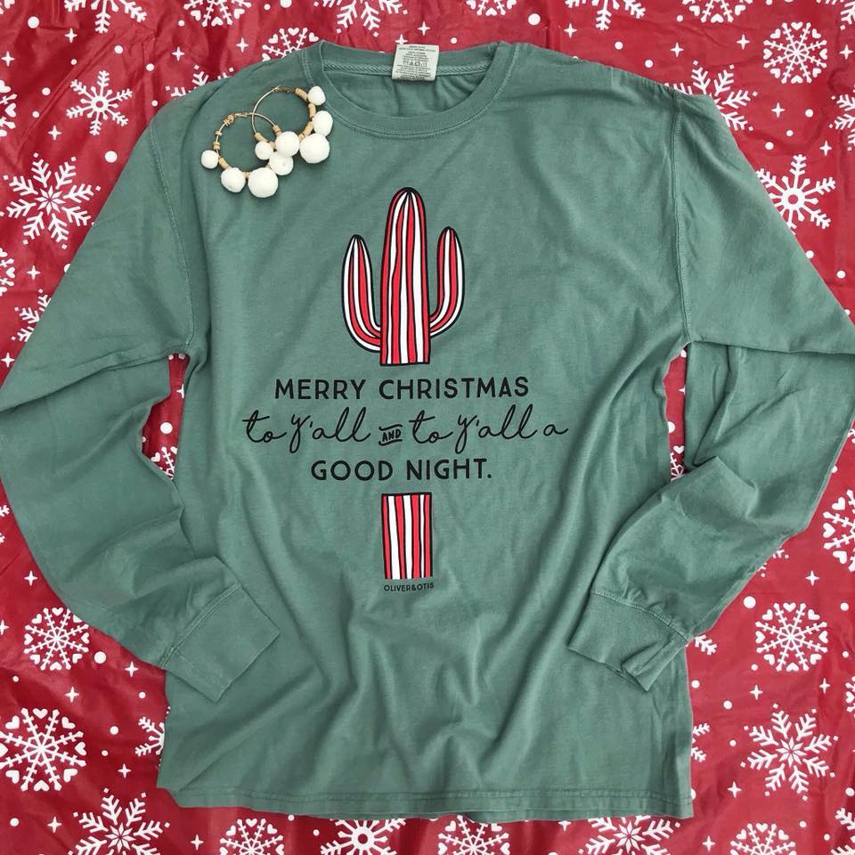 Candy Cane Cactus ADULT T-Shirt