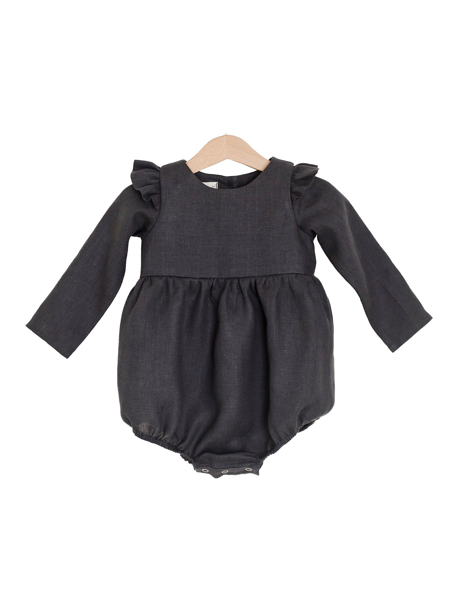 The Audrey: Linen Flutter Sleeve Romper, Black