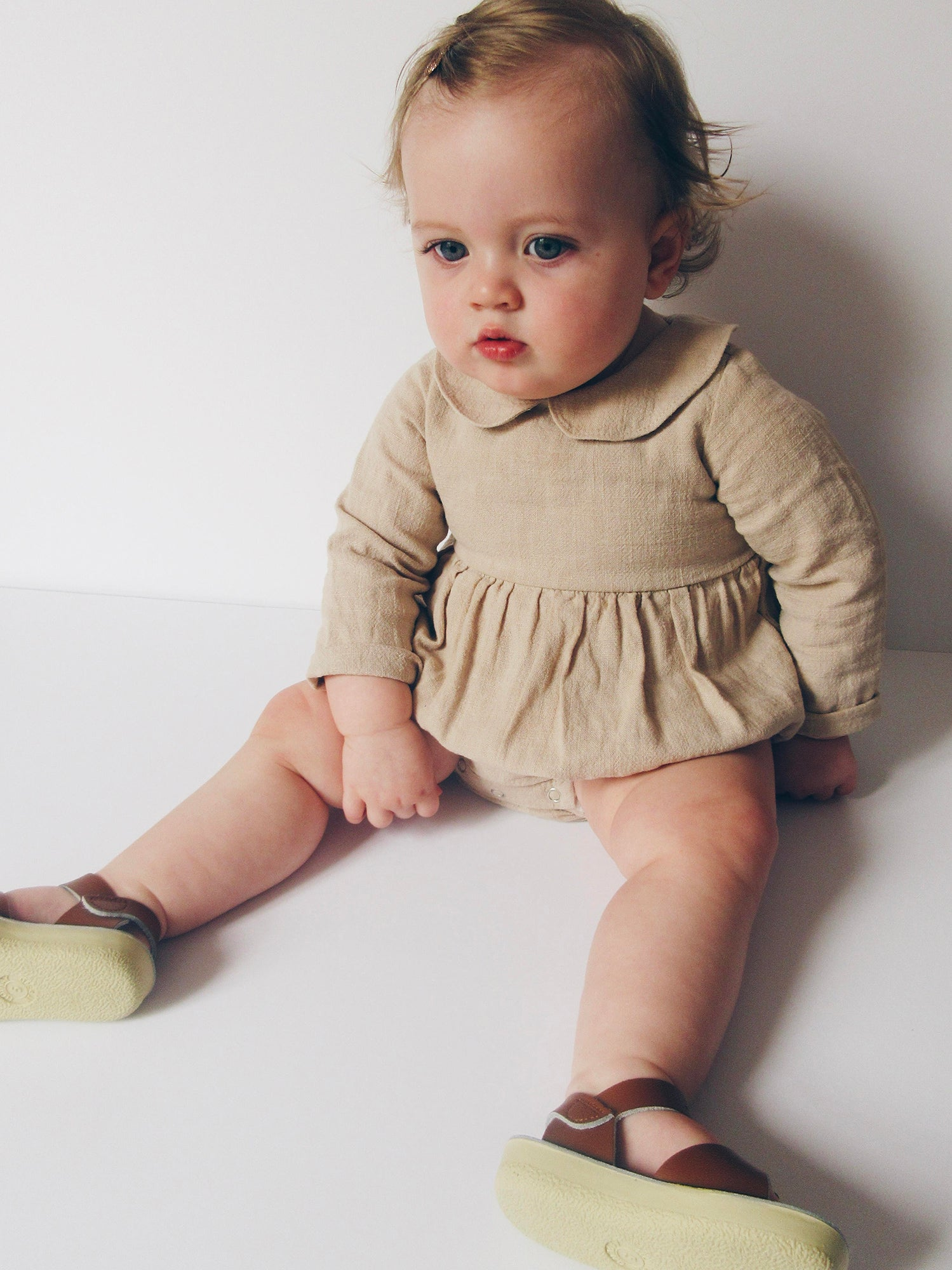 b700ff91b37 The Matilda  Linen Peter Pan Collar Romper
