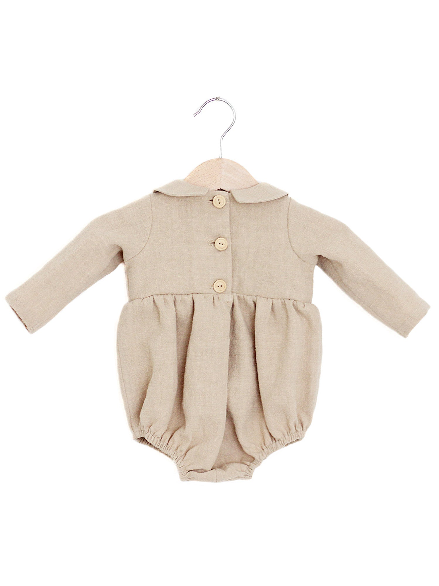 The Matilda: Linen Peter Pan Collar Romper, Beige