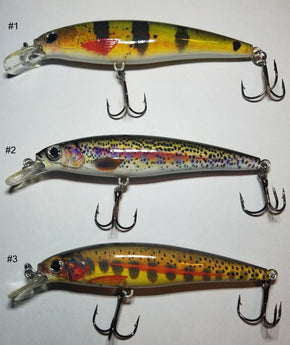 4 Inch Minnow Jerkbait with 2 #4 Treble Hooks - Pro Gear Fishing Reels