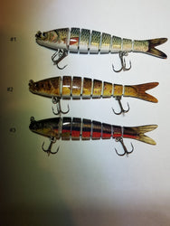 8 Segment 5.5 Inch .9 oz Trout Swimbait Crankbait with #4 Treble Hooks