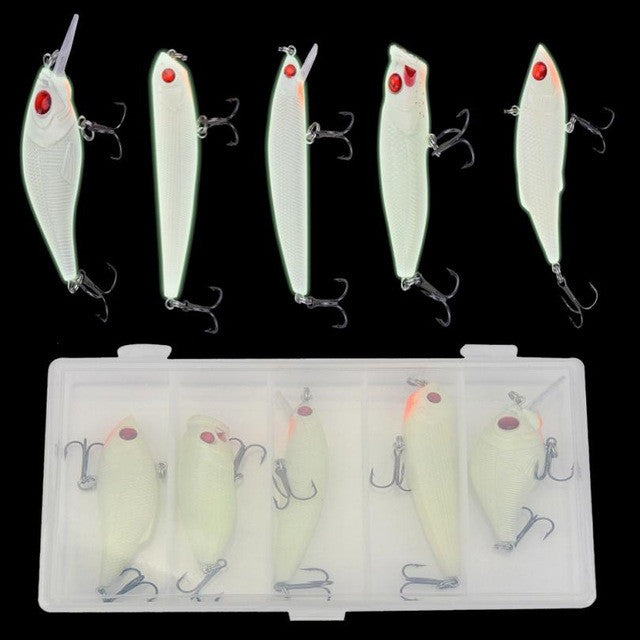 MUQGEW 5pc Minnow 3D Night Fishing Lure Plastic Crankbait Bass Crank Bait Hooks Fish Tackle - Pro Gear Fishing Reels