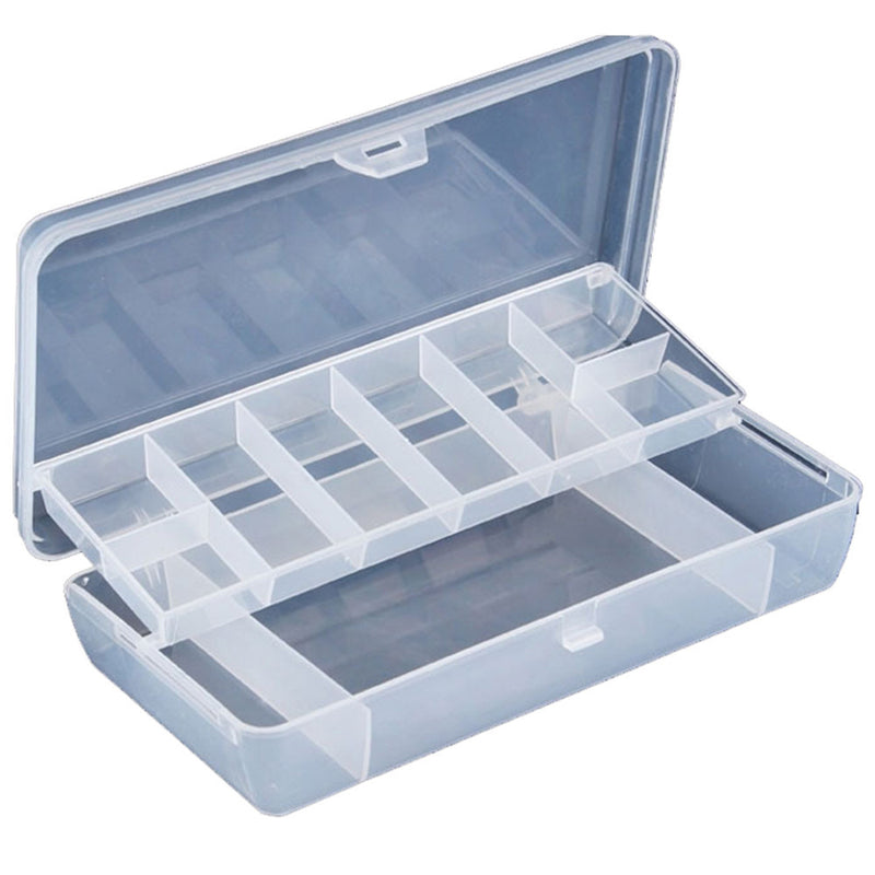 Fishing Lure Box 21*11*4cm Plastic 2 Tray Compartments Two-Sided Storage Case - Pro Gear Fishing Reels