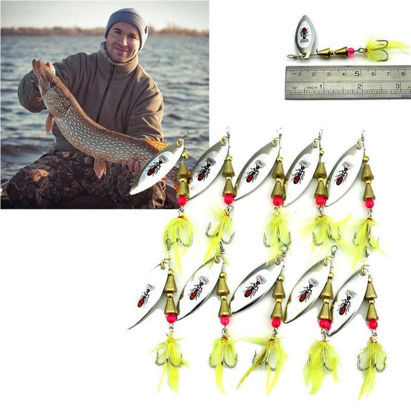 MUQGEW 10Pcs/lot Fishing Lures  Metal SpoonSequin Paillette Hard Baits #EW - Pro Gear Fishing Reels