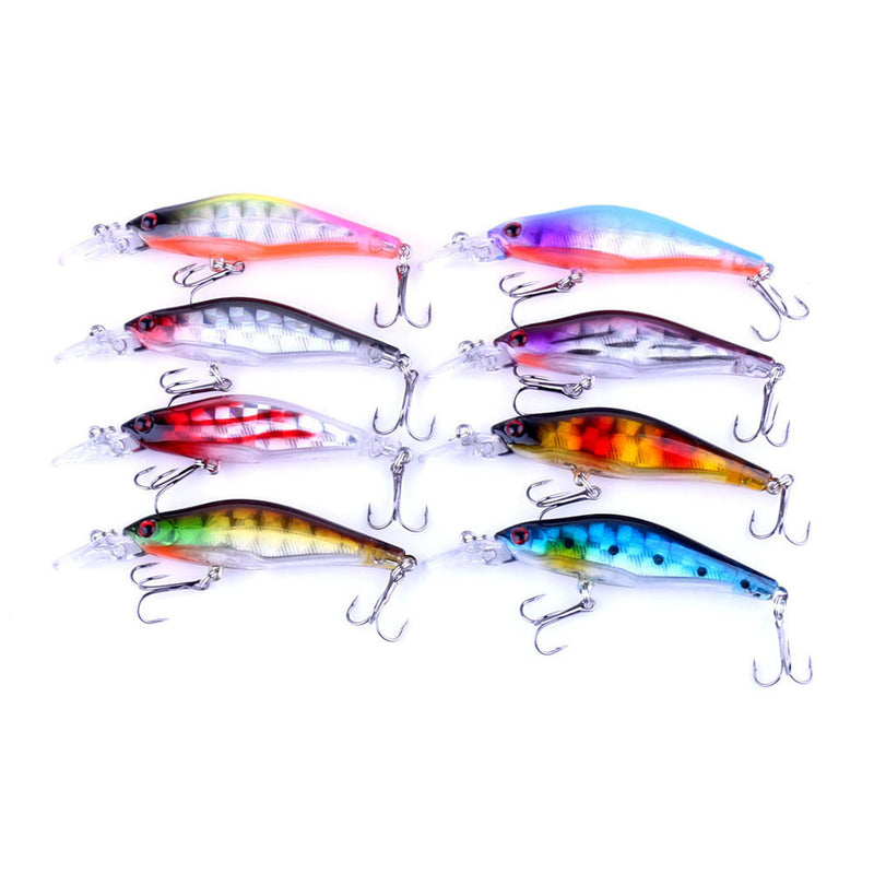 MUQGEW 2017 8pcs Wobblers Laser Minnow Fishing Lures Crank Bait Hooks Bass Tackle - Pro Gear Fishing Reels