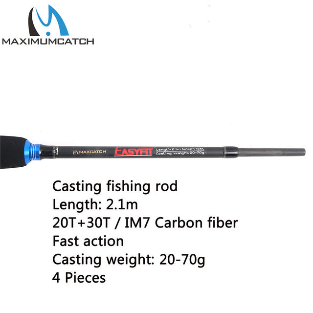 Maximumcatch 2.1M/2.4M Lure Weight 3-80g Baitcasting Fishing Rod Portable Travel Fishing Rod Casting Graphite Rod - Pro Gear Fishing Reels