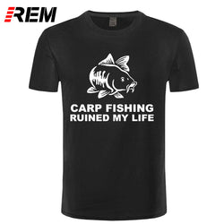REM Cool Tee Shirts Men'S Short Sleeve Carp Fishing Ruined My Life Crew Neck T Shirt - Pro Gear Fishing Reels