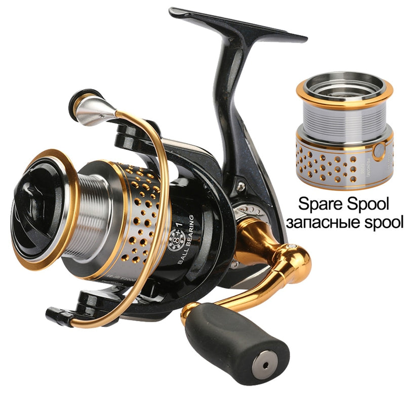 Tsurinoya Metal Fishing Reel Coil Spinning Reels Deep and Shallow Spool 2000 Series 5.2:1 9BB Drag Power 6kg - Pro Gear Fishing Reels