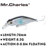 Mr.Charles Fishing Lures 70mm/8.5g Floating Hard Bait 3D Eyes Crankbait - Pro Gear Fishing Reels