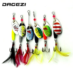 DAGEZI 6pcs Spinner Bait Spoon  Metal Spinner with feather - Pro Gear Fishing Reels