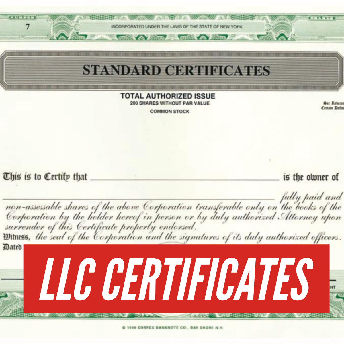 2018 Corpex Stock Certificates For Your Company