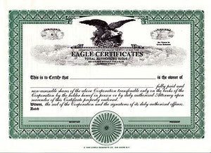 Eagle Certificate - 20 PRINTED EAGLE CERTIFICATES