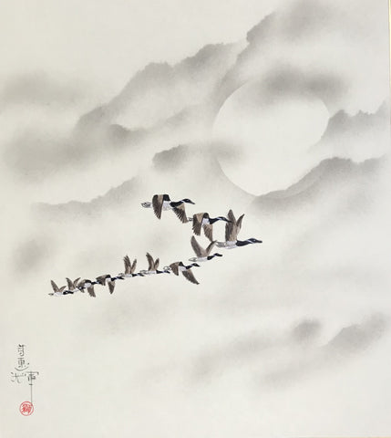 Moon with geese (24 x 27 cm)