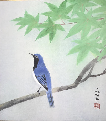 Bird with green maple leaves (24 x 27 cm)