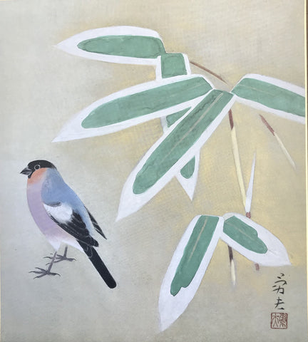 Bullfinch and bamboo (24 x 27 cm)