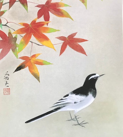 Wagtail with maple leaves /autumn (24 x 27 cm