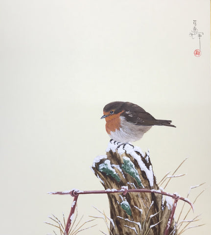Robin in winter (24 x 27 cm)