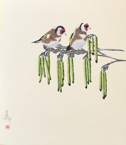 Goldfinches on branch (24 x 27 cm)