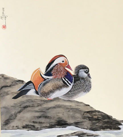 Pair of mandarin ducks (24 x 27 cm)