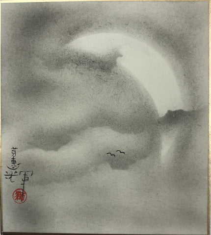 Moon with clouds and birds