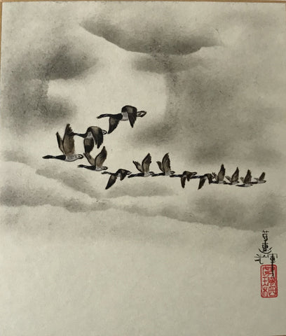 Moon with geese (18 x 21 cm)