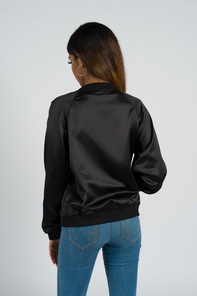 Azalea Satin Black Bomber Jacket