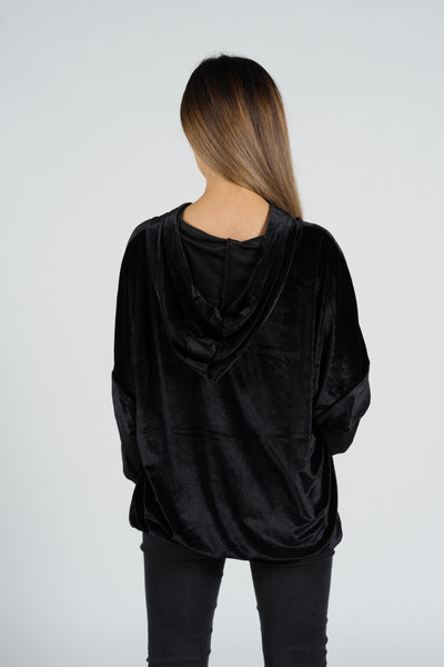 Petunia Black Oversized Velvet Jumper