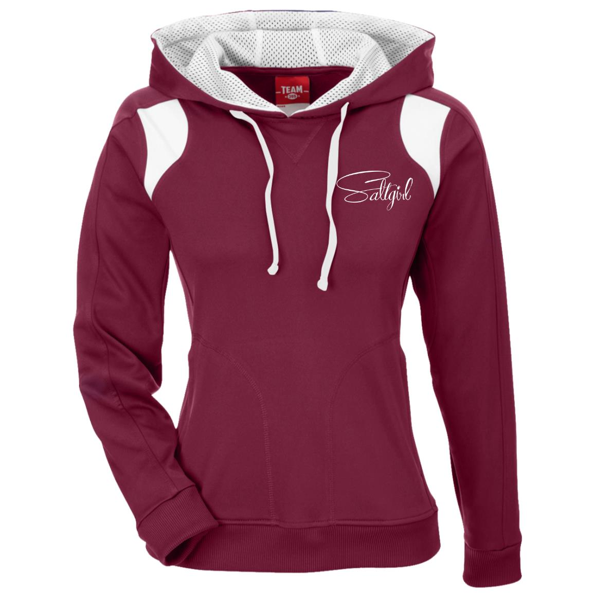 TT30W Team 365 Ladies' Colorblock Poly Hoodie - Saltgirl Clothing - Women's Saltwater Fishing Apparel and Swimwear
