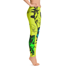 Chartreuse Barracuda Leggings - Saltgirl Clothing - Women's Saltwater Fishing Apparel and Swimwear