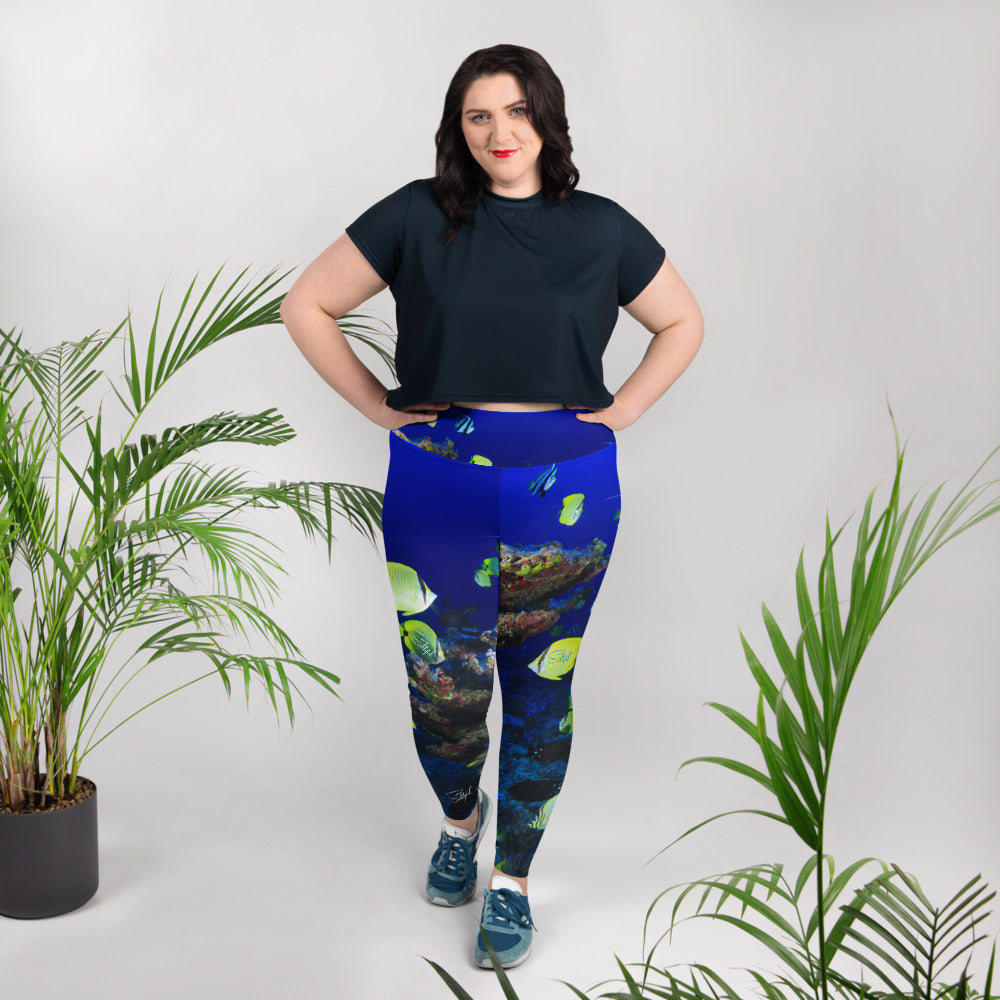 Ocean of Fish Plus Size Leggings - Saltgirl Clothing - Women's Saltwater Fishing Apparel and Swimwear