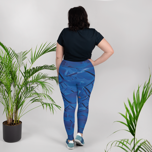 Silver Streaks of Blue Plus Size Leggings