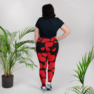 Red Hearted Saltgirl Plus Size Leggings - Saltgirl Clothing - Women's Saltwater Fishing Apparel and Swimwear