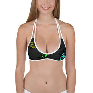 Chartreuse/Black Barracuda Reversible Bikini Top - Saltgirl Clothing - Women's Saltwater Fishing Apparel and Swimwear