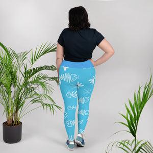 Blue Fishbone Plus Size Leggings - Saltgirl Clothing - Women's Saltwater Fishing Apparel and Swimwear