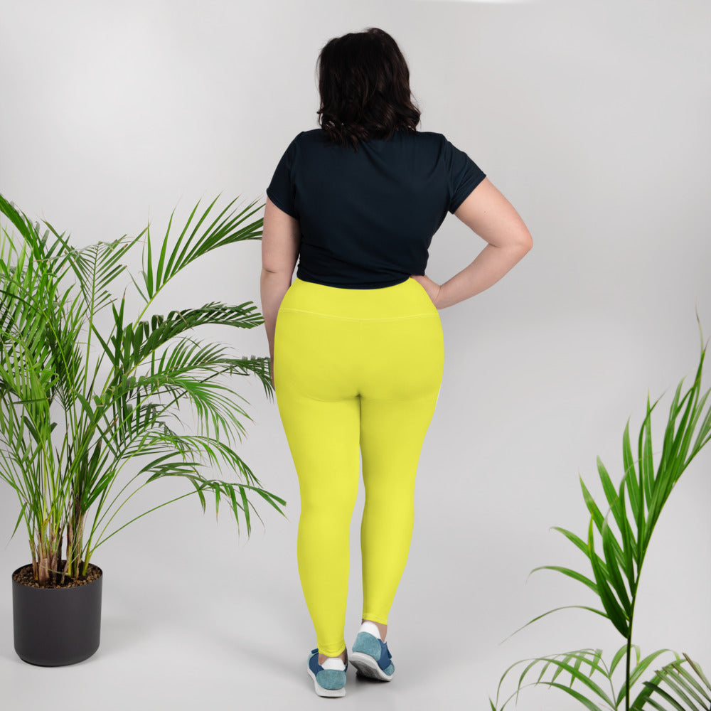 Lemon Yellow Print Plus Size Leggings - Saltgirl Clothing - Women's Saltwater Fishing Apparel and Swimwear