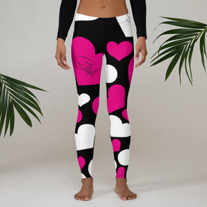 Pink white hearts Leggings - Saltgirl Clothing - Women's Saltwater Fishing Apparel and Swimwear