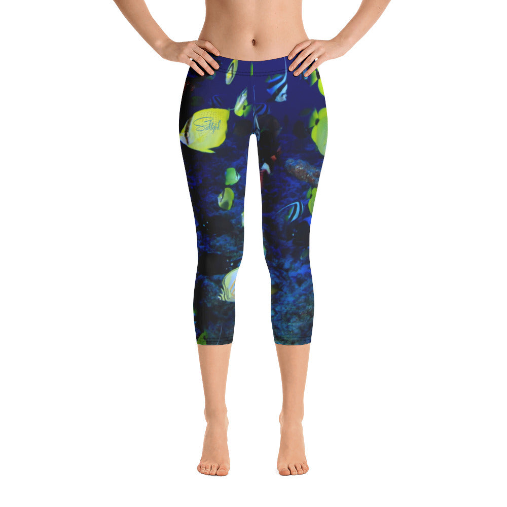 Ocean of Fish Capris - Saltgirl Clothing - Women's Saltwater Fishing Apparel and Swimwear
