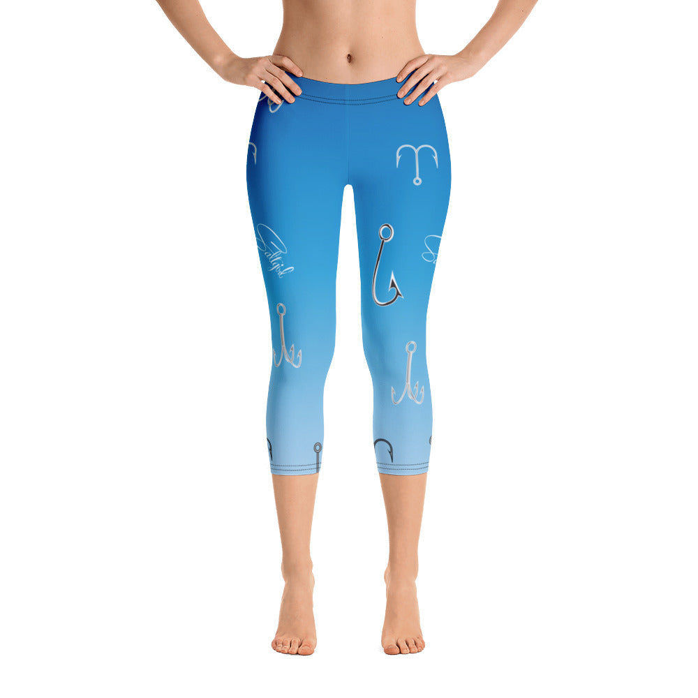 Sky Blue Fish Hook Capris