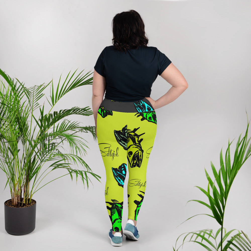 Chartreuse Barracuda Plus Size Leggings - Saltgirl Clothing - Women's Saltwater Fishing Apparel and Swimwear