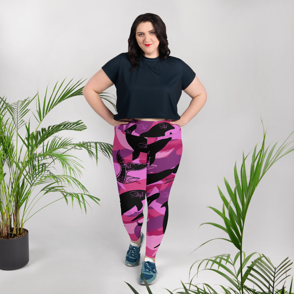Dolphin / Whale  Camo Plus Size Leggings - Saltgirl Clothing - Women's Saltwater Fishing Apparel and Swimwear