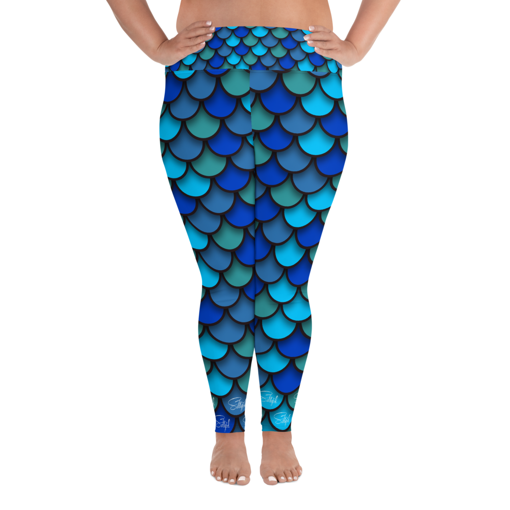 Mermaid Blue Plus Size Leggings