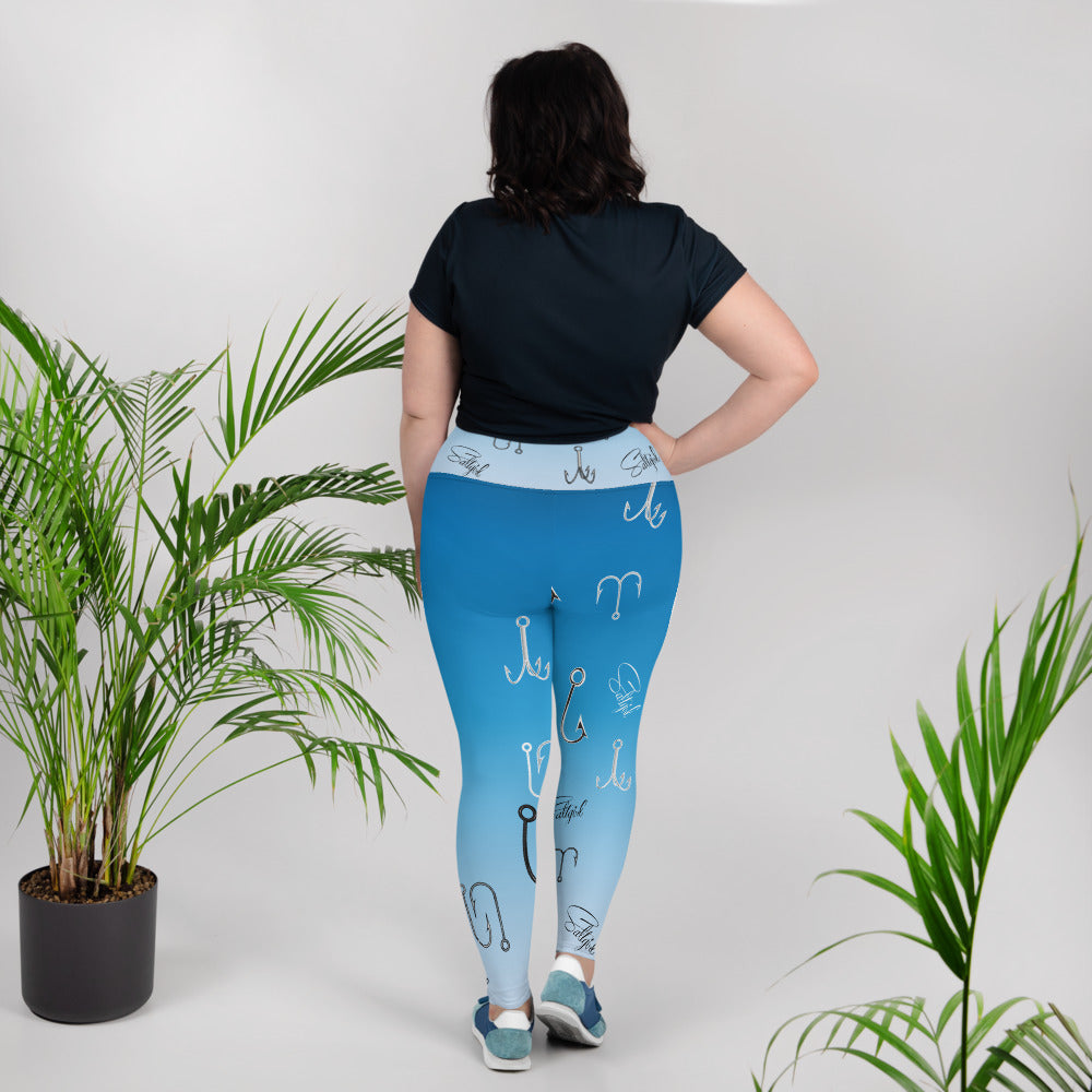 Sky Blue Fish Hook Plus Size Leggings