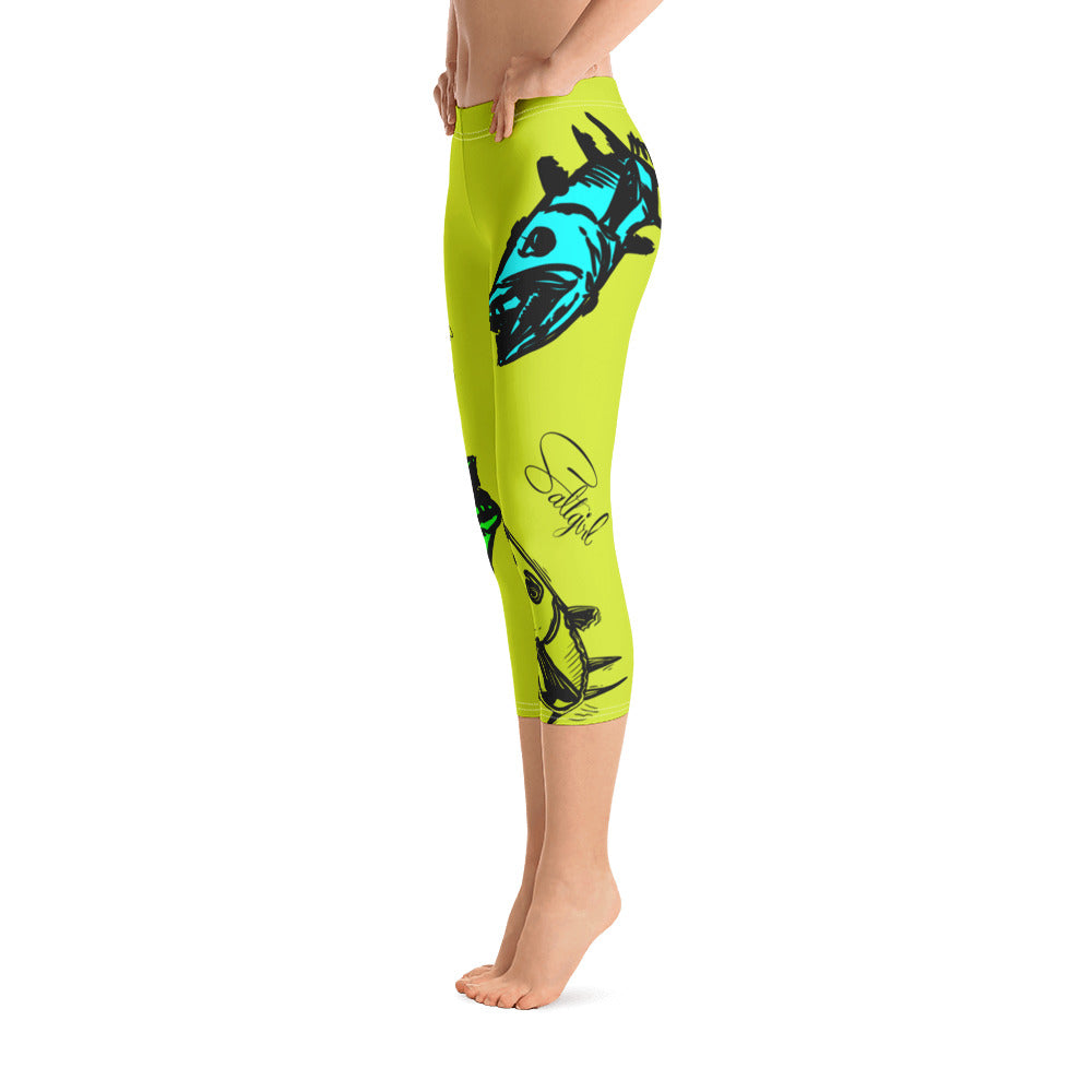 Chartreuse Barracuda Capri Leggings - Saltgirl Clothing - Women's Saltwater Fishing Apparel and Swimwear