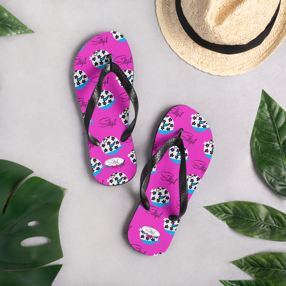 Pink Funny Fish Flip-Flops - Saltgirl Clothing - Women's Saltwater Fishing Apparel and Swimwear