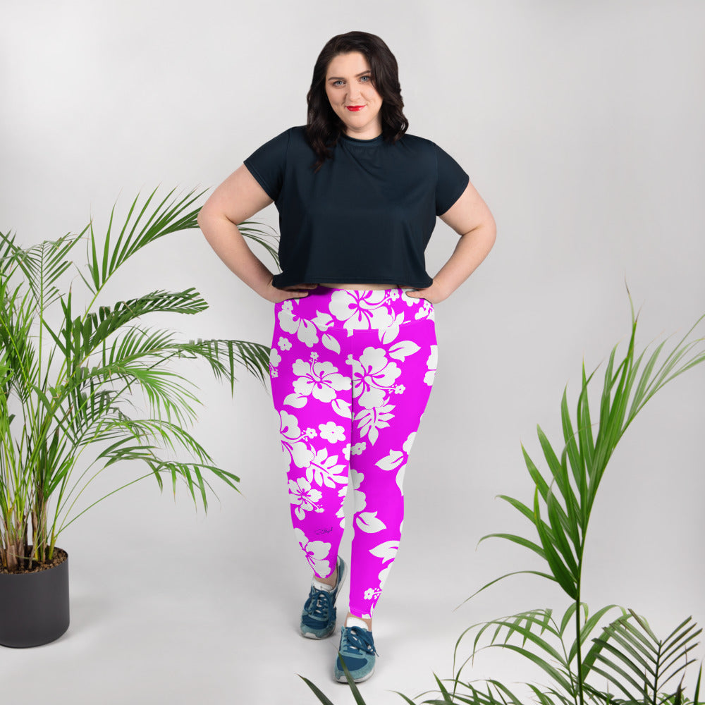 Hawaiian Beauty  Plus Size Leggings - Saltgirl Clothing - Women's Saltwater Fishing Apparel and Swimwear