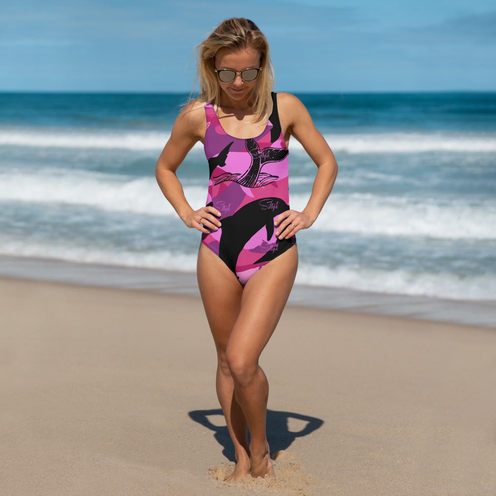Dolphin / Whale Camo One-Piece - Saltgirl Clothing - Women's Saltwater Fishing Apparel and Swimwear