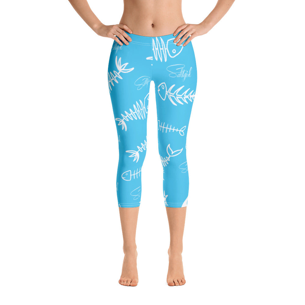 Blue Fishbone Capris - Saltgirl Clothing - Women's Saltwater Fishing Apparel and Swimwear